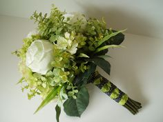 Chartreuse Lime Green Wedding Flower Bouquet Set 10 by WeeGardens, via Etsy.