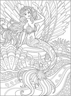 Welcome to Dover Publications - CH Magnificent MermaidsYou can find Dover publications and more on our website.Welcome to Dover Publications - CH Magnificent Mermaids Mermaid Coloring Book, Fairy Coloring Pages, Adult Coloring Book Pages, Printable Adult Coloring Pages, Coloring Books, Free Adult Coloring, Coloring Pages To Print, Colouring Pages For Adults, Kids Coloring