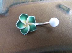 Green Hawaiian Flower Plumeria Belly Button Ring Hawaii Navel Stud Jewelry Bar Barbell Piercing Tropical Hibiscus