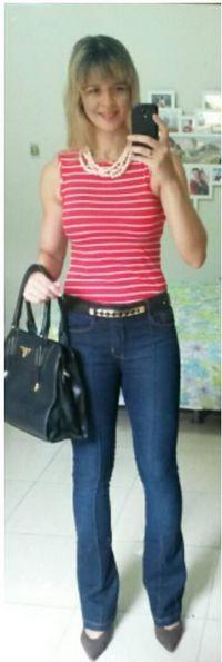 look de trabalho - look casual - look com jeans - listras - calça jeans flare