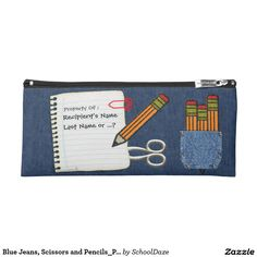 Blue Jeans, Scissors and Pencils #Personalized_Pencil_Case - Both useful & very cool, this sturdy zipped fabric #pencil_bag is adorned w/an original design by digital artist, Leslie Sigal Javorek, that depicts several taxi yellow felt pencils (3 of which emerge from a riveted blue jean pocket) ; a red plastic clipped sheet of wide rule paper torn from a spiral pad w/ 3 custom text fields for you to personalize; a pair of metal-look scissors; and a medium #stone-washed #blue_denim background.