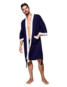 e87bdb58d7 Men s Waffle Kimono Robe Cotton Lightweight Nightgowns Spa Terry Cloth Bathrobe  Sleepwear - Navy Blue - CW188QMY3QO