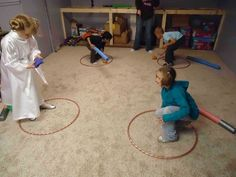 """Or, if you're looking for a no-contact game, have kids try to toss beanbags into each other's hula hoop """"force fields."""""""
