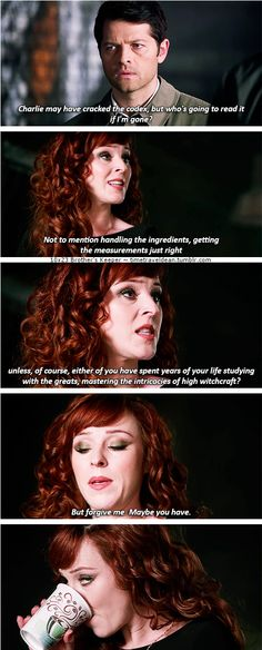 "10x23 Brother's Keeper [gifset] - ""unless either of you have spent years of your life studying with the greats, mastering the intricacies of high witchcraft?"" - Rowena, Supernatural - I just love Rowena so much!"