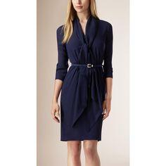 Burberry Drape Detail Silk Dress ($1,305) ❤ liked on Polyvore featuring dresses, burberry, blue dress, three quarter sleeve dress, drape neck dress, ruching dress and blue silk dress