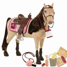 This Our Generation poseable Morgan horse is ready to explore nature trails and act as a loyal friend for any 18 inch Our Generation doll who loves horse riding.