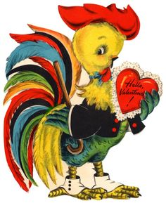vintage valentine - an adorable and colorful rooster.