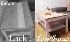 Ich habe aus meinem normalo IKEA Tisch (Lack) durch wenige Veränderungen einen Landhaus Tisch gemacht.