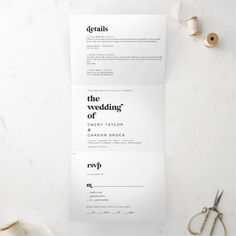 Modern Black Typography Photo Wedding All In One Tri-Fold Invite in minimalist black and white with a unique rustic bohemian feel and retro yet contemporary font. Click to customize with your personalized details today. Rustic Invitations, Invitation Design, Invite, Beautiful Wedding Invitations, Wedding Invitation Sets, Typography, Lettering, All In One, Contemporary Fonts