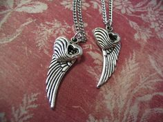 Best Friend Jewelry Sisters Silverplated Angel Wings and Heart Necklace