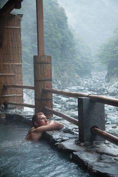 Enjoying an Iya Valley hot-springs bath, Tokushima, Japan 祖谷温泉