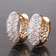 18k or blanc rempli Boucles D/'oreilles Femmes Flocon de neige oreille clous Gold Filled Costume Charme Bijoux