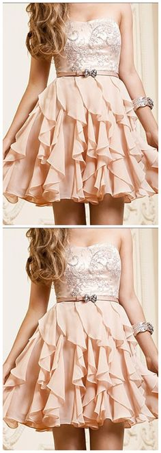 Chiffon Short Prom Dresses, Sweetheart , Cute Homecaming