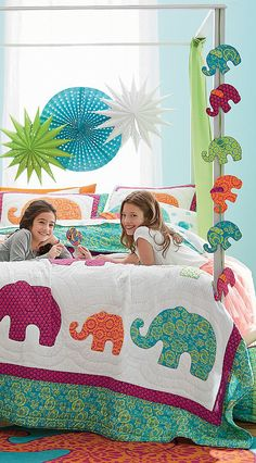 This bright and beautiful kids' quilt bedding has the feeling of a sunny summer garden. Designed to dazzle in any child's room. The Company Store Elephant Room, Elephant Quilt, Elephant Theme, Teen Girl Bedding, Girls Bedroom, Beds For Kids Girls, Quilt Bedding, Bedspread, Comforter