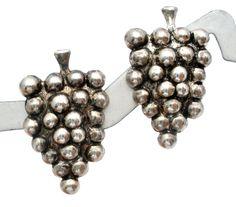 Vintage Sterling Silver Grape Earrings