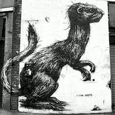By ROA #streetart #roa #mural #drawing #urbanart