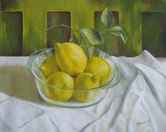 Painting - Lemons by Elena Oleniuc , Pear, Lime, Fruit, Painting, Artworks, Food, Limes, Painting Art, Essen