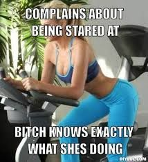 gym meme- haha right? Stop working out looking like a hoe!