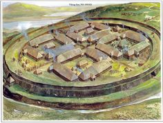 The Viking fortress of Trelleborg, the best preserved of the seven Viking ring forts discovered in southern Scandinavia, Denmark
