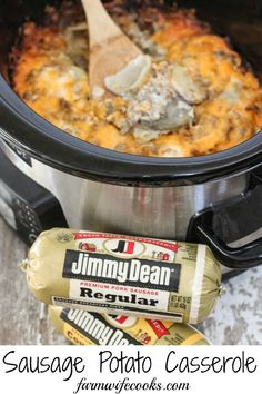 Sausage Potato Casserole Are you looking for a great tried-and-true recipe that will have your whole family running to the dinner table? This Crock Pot Sausage Potato Casserole will quickly become a family favorite. Pork Sausage Recipes, Sausage Recipes For Dinner, Breakfast Sausage Recipes, Crock Pot Sausage, Crockpot Breakfast Casserole, Potato Recipes, Sausage Potato Casserole, Sausage Potatoes, Casserole Recipes