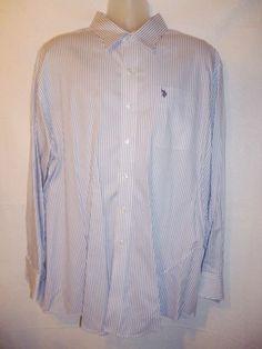 U.S. POLO ASSN Mens Dress Shirt White w Blue Pin Stripes Long Sleeve XXL 18-18.5 #USPoloAssn