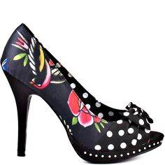 You'll stand out in society with these brilliant satin beauties from Iron Fist. The Society Suicide heel brings you a black satin covering the upper with a floral print pattern and a polka dot bow at the vamp. A 1/2 inch rhinestone trimmed platform and 4 inch heel completes this outstanding peep toe style.
