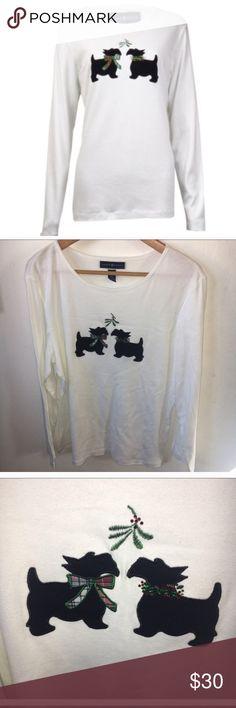 Karen Scott Scotty Mistletoe Christmas shirt XL Karen Scott Scotty Mistletoe Christmas shirt XL, in white . New with tags✨price firm Karen Scott Tops