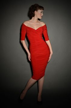 Monica - the ultimate 1950's Red Wiggle Dress is BACK in stock!!