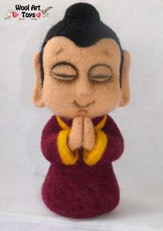 Buddha Statue  Artist Needle Felted Sculpture  home by WoolArtToys