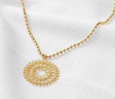 Gold pendant necklace Long necklace Round necklace by HLcollection