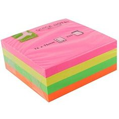 Q-Connect Quick Note Neon Cube 75x75mm KF01348 Post It 3m, Business Supplies, Office Supplies, Green And Orange, Pink Yellow, Sticky Pads, New Product, Cube, Adhesive