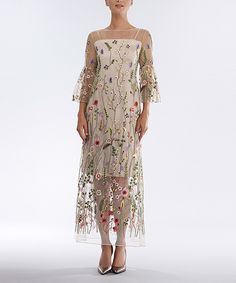Take a look at this Bigio Collection Fawn Floral Sheer-Overlay Midi Dress today!