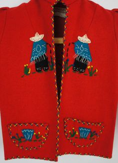 VINTAGE 1950's KIDS EMBROIDERED MEXICAN FELT JACKET WITH AMAZING APPLIQUE S/M in Clothing, Shoes & Accessories, Vintage, Children's Vintage Clothing, 1947-64 (Post WWII-Early 60s) | eBay