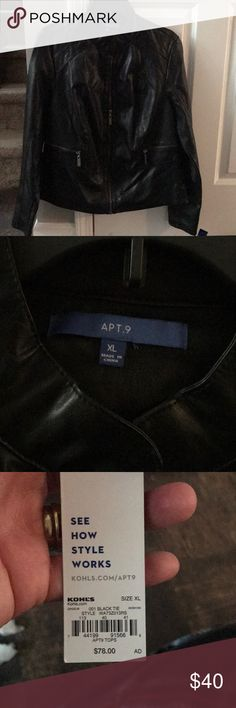 APT 9 Faux Leather Jacket Black Faux leather jacket. NWT! Size XL. Never worn!!!!!! Apt. 9 Jackets & Coats