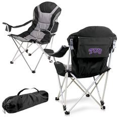 TCU Horned Frogs Black Reclining Camp Chair.  Great as a spectator chair at sporting events or outdoor activities. Visit SportsFansPlus.com for Details.