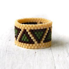Geometric ring Wide beaded ring Triangles ring by HappyBeadwork