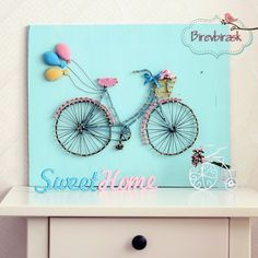 Bike String Art . Wall hanging Bike Home decor by BIREVBIRASK