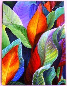 Happy leaves :-).  Oil. Acrylic Painting Techniques, Art Techniques, Silk Painting, Watercolor Paintings, Diy Canvas, Canvas Art, Tropical Art, Leaf Art, Floral Watercolor