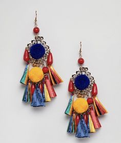 Glamorous Tassel Drop Statement Earrings | ASOS #earringfavorites #pencilandpaperco