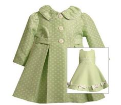 Bonnie Jean Baby Girls Easter Spring Green Dress Coat 18M