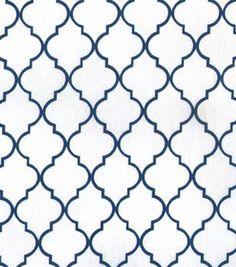 Keepsake Calico Fabric Quatrefoil White & Navy