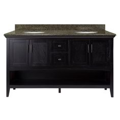 Home Decorators Collection Brattleby 61 in. W x 22 in. D Vanity in Espresso with Granite Vanity Top in Quadro with White Basins