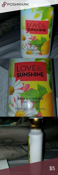 🎁🛒FREE WITH💲35 BUNDLE🛒🎁 》Love and Sunshine Bath and Body lotion. Barely used《 ☛Free with 💲35 bundle, or💲5 individual☚ 🚫🚭Any & everything in my closet is from a smoke free home🚫🚭 Other
