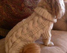 Items similar to Dog Sweater - Classic Fisherman Cable Knit - Aran on Etsy Knit Dog Sweater, Dog Sweaters, Dog Place, Hand Knitting, Knitting Patterns, Grey Trim, Seed Stitch, Boy Dog, Dog Coats