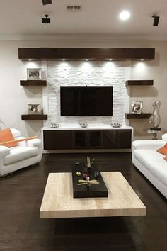 17 DIY Entertainment Center Ideas and Designs For Your New Home Do you have a brand-new house? If so, knowing about DIY entertainment center suggestions may be essential for you. We have 17 inspiration for you Living Room Modern, Home Living Room, Living Room Decor, Tv Wall Ideas Living Room, Living Area, Good Living Room Colors, Room Wall Colors, Cozy Living, Simple Living