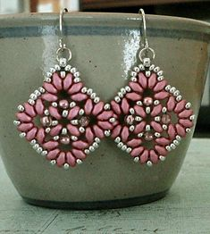 Linda's Crafty Inspirations: Circles & Squares Earrings - Rouge & Silver