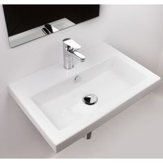 Ceramica Tecla by Nameeks 40 Ceramic Wall Mount Bathroom Sink with Overflow Faucet Mount: 3 Hole Drop In Bathroom Sinks, Modern Bathroom Sink, Drop In Sink, Small Bathroom, Bathrooms, White Bathroom, Bathroom Ideas, Budget Bathroom, Basement Bathroom