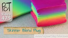 Skinner Blend Plug - Square Polymer Clay Rainbow Cane, the colors used to make this are Fuchsia, Turquoise and Sunshine Yellow Premo