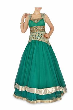 Sea Green gown with Metallic embroidery