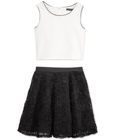 Sequin Hearts Girls' 2-Piece Top & Soutache Skirt Set